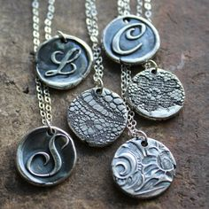 Wax Seal Monogram Reversible Lace Necklace - Fine Silver