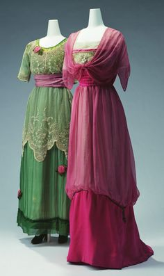 "Evening Dresses: ca. 1911, Left - Jeanne Lanvin, embroidered silk chiffon and tulle lace with rose ornaments, Right - silk tulle and silk chiffon embroidered with beads, faux pearls and metallic cord. ""...This [high-waisted] silhouette spread among designers, starting from Paul Poiret's ""Lola Montez"" dress in 1906. Distinctive, vivid colors on delicate materials such as silk chiffon were achieved in this period by use of synthetic dyes..."""