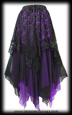 Black Lace & Purple Chiffon Long Gothic Skirt