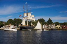 Mystic Seaport--The Museum of America and the Sea, Mystic Seaport is a re-created 19th-century port village and maritime museum. Popular attractions include a replica of the slave ship Amistad.