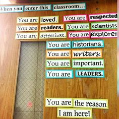 """Love this colorful and empowering classroom door (spotted by @tptamy at her daughters school). What's on your door? Share it with the TpT community…"""