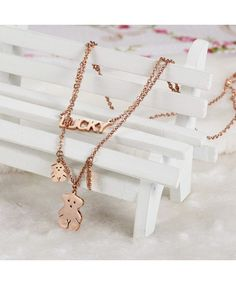 charme ours collier double chaîne mince importation bijoux en Chine