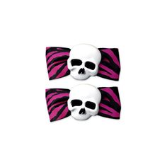 BOW SKULL PNK ZEBRA BARRETTES in Hair Goods at Sourpuss Clothing ($9) found on Polyvore