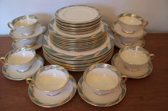 Vintage Lenox Service for Eight Bellevue Sea Green by SKOOPINKIE, $285.00