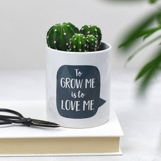 Small Ceramic Pot: Small ceramic pot that reads To Grow Me is to Love Me Plant Pot by Bespoke Verse. Created in Bespoke Verse's studio in Hertfordshire, UK, this white, cylindrical ceramic plant pot is printed with a black speech bubble, with the words 'To Grow Me is to Love Me' inside it. The perfect vessel for any plant, such as trendy succulents and cactus', or even as a vase to put daffodils or cut roses in, this plant pot is incredibly versatile.