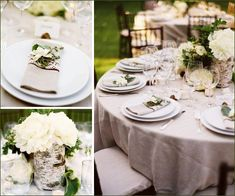 Real Weddings: Natural & Organic Inspired Wedding Reception.  Palette of bright white, wheat/light beige, and earthy green... napkins with fresh herbs or (or a less-expensive greenery option, like the bouquets of mixed greenery available at grocery stores or white blossoms that look beautiful as accents.