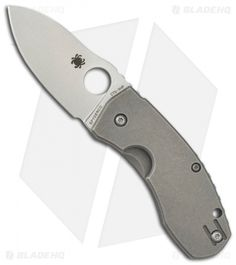 "Spyderco Techno Knife Titanium Folder (2.55"" Stonewash Plain) C158TIP"