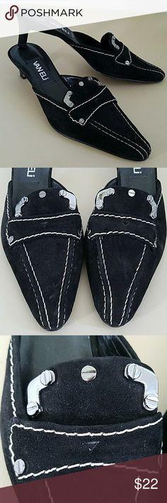 Suede & Metal Beauties 2 inch heel sz 6.5M Great condition Vaneli Shoes Heels
