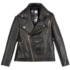 58dfa6b7bfc05 Molo Black Leather  Halvor  Biker Jacket at Childrensalon.com