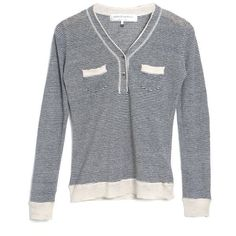 United Bamboo microstripe linen henley sweater (3,810 INR) ❤ liked on Polyvore featuring tops, sweaters, women, beige top, patterned sweater, mixed print top, linen tops and print top