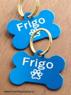 ID známky v modré variantě eloxovaných kostiček s rytím jména a telefonních čísel na druhou stranu psí známky.