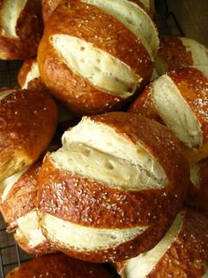 Homemade pretzel rolls! The recipe makes a ton, but they freeze great for about 2 weeks. Just prepare them all of the way up until they're ready to be baked, and just put the par-boiled dough balls onto a parchment lined baking sheet and then into the freezer, once frozen transfer to a freezer bag. Voila, fresh tasting pretzel rolls in minutes!