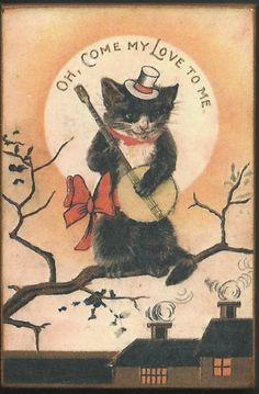 Wood Magnet Valentine Cat Banjo Humorous Vintage Style 921