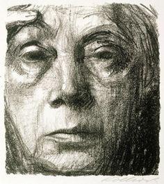 """Käthe Kollwitz self-portrait. 1934. From """"100 Self-Portrait Drawings from 1484 to Today"""""""