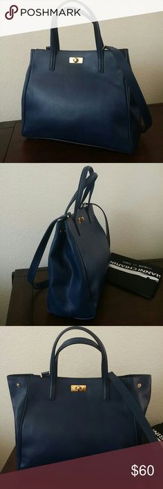 """Italy Gianni Chiarini Blue bag Like new. I love this bag. It fits over your shoulders with thin straps, or you have the attachable crossbody strap. All leather. About 12"""" long, 10"""" tall with adjustable width (snaps at top) at 4"""". Gold tone twistlock,with 4 gold protective feet. Super nice for the office, brunch with the Fam, or shopping! Fits a lot, but doesn't look too big. Dustbag is included. Smoke free home. Anthropologie for exposure.I love Anthropologie, and this goes well with some…"""
