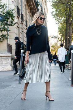 Oversized Sweater + Pleated Skirt