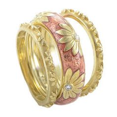 Hidalgo Diamond Yellow Gold Floral Ring Set | From a unique collection of vintage band rings at https://www.1stdibs.com/jewelry/rings/band-rings/