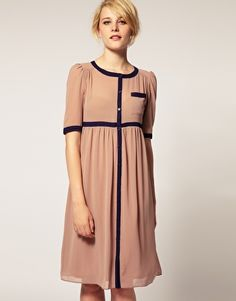 ASOS Sheer Midi Smock Dress With Contrast Edges. super cute! love this! its modest and super cute!