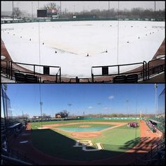 """Top pic is from this morning. Bottom pic now. Let's play ball! #TexasWeather #SicNWST"""