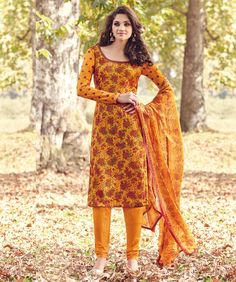 Tussar+Silk+Yellow+Floral+Print+Unstitched+Churidar+Suit+-+6519 at Rs 2080