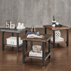 TRIBECCA HOME Cyra Industrial Reclaimed Accent End Table | Overstock.com Shopping - The Best Deals on Coffee, Sofa & End Tables