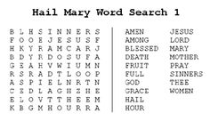 3 Hail Mary word search puzzles