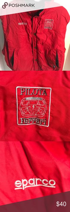 Ferrari Sparco Pilots Red Vest Made in Italy XL Made in Italy. Overall good used condition. Comes from a smoke-free home. Please view all photos. I would be happy to answer any questions.  Ships out next business day. Shirts