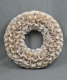 Another great find on #zulily! 17'' Cream Glitter Wood Chip Petals Wreath #zulilyfinds