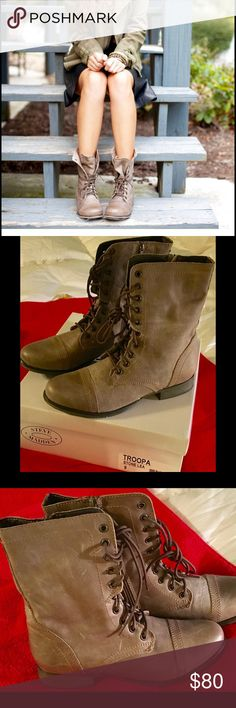 "Brand New Troopa Boots Size 9 Steve Madden Troopa Boots in ""stone"", size 9.  Never taken out of the box! Steve Madden Shoes Combat & Moto Boots"