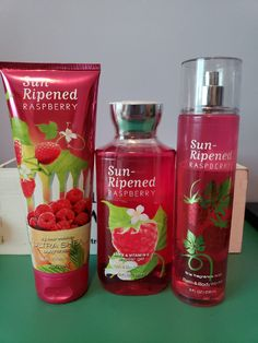 Bath and Body Works 3 Piece Set in Sun-Ripened Raspberry. Includes Fragrance Mist, Shower Gel and Body Cream. Always willing to bundle with other offers to save on shipping costs. Body Shower, Shower Gel, Hair Products, Beauty Products, Bath And Body Works Perfume, Fragrance Mist, Body Mist, Body Spray, Smell Good