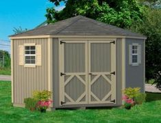Amish Wood Classic Five-Corner Shed Kit Easy DIY shed kits are popular for not only storage, but for creating a private she-shed or man cave! Ships in panelized form for easy assembly. Smart siding feature resists outdoor elements. Option to add flower boxes to this model. #sheds #shedkits #shedkit #DIYshed
