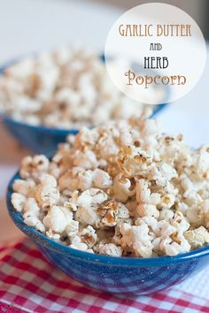 Garlic Butter and Herb Popcorn from @NevrEnoughThyme http://www.lanascooking.com/2012/08/28/garlic-butter-and-herb-popcorn/ #snacks