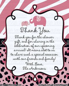 14 Best Baby Shower Thank You Cards Images Baby Shower Wording