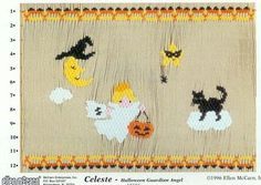 Celeste Halloween smocking design plate by Ellen McCarn.  Available at www.chadwickheirlooms.com