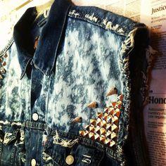 DeeMolished Denim Jacket - studs - spikes - diamond spikes - bleach effects - rips - LOVE.DENIM
