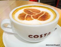 cool+coffee+drinks | Signature Costa logo on latte art with the unique coffee ring