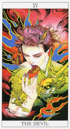Love and MysteryTarot, by Yoshitaka Amano: The Devil -- If you love Tarot, visit me at www.WhiteRabbitTarot.com