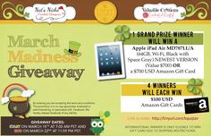 Giveaway over at Nat's Niche! March 15'th through March 22'nd! Win an iPad Air OR $700 Amazon gift card. 4 winners will each win $100 amazon gift card!