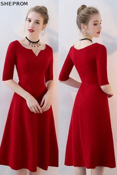 Shop Simple Burgundy Aline Knee Length Party Dress with Sleeves online. SheProm offers formal, party, casual & more style dresses to fit your special occasions. Trendy Dresses, Simple Dresses, Elegant Dresses, Casual Dresses, Short Dresses, Fashion Dresses, Simple Red Dress, Red A Line Dress, Party Dresses With Sleeves