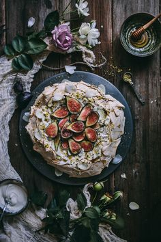 Pistachio and Rose Water Pavlova with Greek Yogurt, Honey, and Figs | Adventures in Cooking
