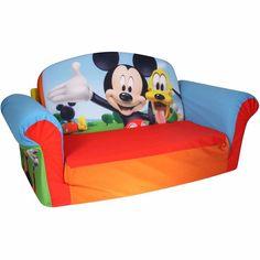 Children's Sofa Furniture 2-in-1 Flip Open Sofa, Mickey Mouse Club House         #Marshmallow