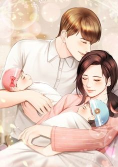 The couple with their 2 babies 👶👶👨👩👧👦😍😘 Anime Couples Drawings, Anime Couples Manga, Anime Poses, Anime Love Couple, Couple Cartoon, Anime Cupples, Romantic Anime Couples, Cute Anime Coupes, Cute Love Cartoons