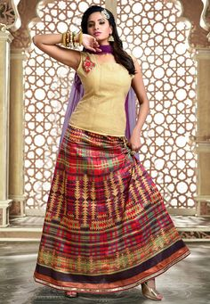 Buy Printed Art Silk Circular Lehenga in Multicolor online, work: Printed, color: Multicolor, usage: Festival, category: Lehenga Choli, fabric: Art Silk, price: $160.70, item code: LRV3, gender: women, brand: Utsav