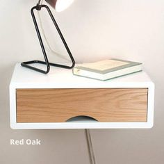 Denali Floating White Nightstand with Door, Wall Mount Nightstand . White Nightstand, Floating Nightstand, Door Wall, Wall Mount, Doors, Table, Furniture, Home Decor, Floating Headboard
