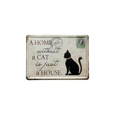 Black Cat Tin Sign Stamp Vintage Pub Wall Decor Thanksgiving Day Gift ($4.71) ❤ liked on Polyvore featuring home, home decor, wall art, white, friendship sign, vintage home decor, white wall art, thanksgiving home decor and vintage home accessories