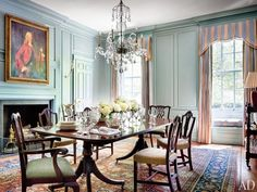 Find the latest Architectural Digest mariette himes gomez articles, see the gorgeous architectural pictures and slideshows, and get design ideas from the top design authority. Dining Room Blue, Dining Room Design, Dining Room Furniture, Room Chairs, Antique Dining Rooms, Dining Table, Antique Furniture, Georgian Interiors, Georgian Homes