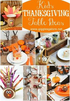 The kids table is where all the fun happens on Thanksgiving. Create a memorable celebration with easy Kids Thanksgiving Table Ideas, crafts and DIY projects! #thanksgiving #holidaycraft #thanksgivingtable #holidaydiy #gigglesgalore #gigglesgalorecreates