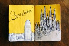 Yellow Illustration: Barcelona {The Sketchbook Project}