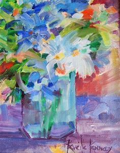 """Daily+Paintworks+-+""""Delphiniums+for+Dorothy""""+-+Original+Fine+Art+for+Sale+-+©+Reveille+Kennedy"""