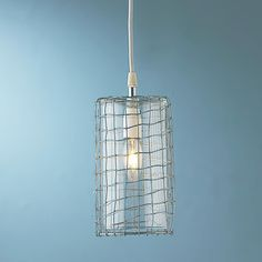 Wire Cage Glass Cylinder Pendant Light  new island lighting~Chance